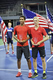 Felix Anger Aliassime Denis Shapovalov USOPEN champions (4). Felix Anger Aliassime Denis Shapovalov are the champions of US Open 2015 Doubles Royalty Free Stock Photo
