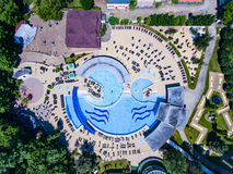 Felix Baths thermal pool, Romania. Aerial view royalty free stock photos