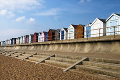 Felixstowe Beach Huts. Colorful Beach Huts at Old Felixstowe, Essex, UK Stock Photos