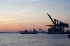 Felixstowe Docks. Busy Docks in the setting sun royalty free stock image