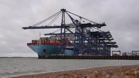 FELIXSTOWE FÖRENADE KUNGARIKET - JANUARI 27, 2019: Thalassa Doxa behållareskepp på den Felixstowe sjösidaöverskriften in mot Feli stock video
