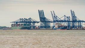 Felixstowe hamn, Suffolk, England, UK Arkivbild