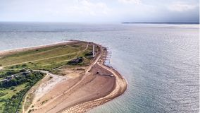 Felixstowe headland.  Entrance to river Stour and several large ports. Landguard Fort, headland guarding the entrance to the river Stour.  Felixstowe and Harwich Stock Images