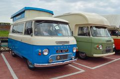 Classic Commer Camper Vans parked together. FELIXSTOWE, SUFFOLK, ENGLAND -  MAY 07, 2017: Classic Commer Camper Vans parked together Stock Photos