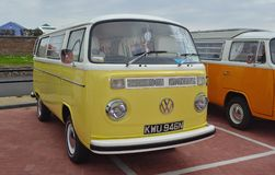Classic Yellow and White Volkswagen Camper Van. Royalty Free Stock Photography