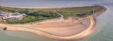 Felixstowe udde Ingång till floden Stour och flera stora portar Arkivfoto
