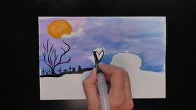 Feliz万圣夜 万圣夜不同的颜色生动描述与¨Happy Helloween¨ wihses的图画在西班牙语的 影视素材