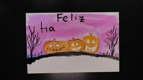 Feliz万圣夜 万圣夜不同的颜色生动描述与¨Happy Helloween¨ wihses的图画在西班牙语的 股票录像