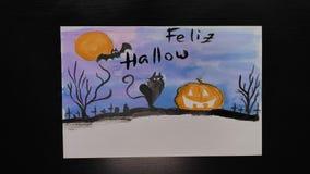 Feliz万圣夜 万圣夜不同的颜色生动描述与¨Happy Helloween¨ wihses的图画在西班牙语的 股票视频