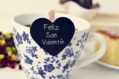 Feliz圣valentin,愉快的情人节用西班牙语 库存图片
