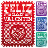 Feliz圣Valentin -愉快的情人节西班牙语 图库摄影
