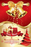 Feliz新生e Ano诺沃!蟒蛇Festas!圣诞快乐和新年快乐,愉快的假日-葡萄牙公司贺卡与 免版税库存图片