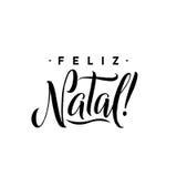 feliz γενέθλιος Πρότυπο καλλιγραφίας Χαρούμενα Χριστούγεννας στα πορτογαλικά Μαύρη τυπογραφία ευχετήριων καρτών στο άσπρο υπόβαθρ διανυσματική απεικόνιση