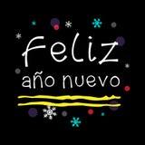 Feliz año nuevo Szczęśliwy nowy rok hiszpańszczyzn powitanie Obraz Royalty Free