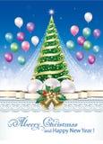 Feliz Año Nuevo 2019 Árbol de navidad con la decoración de la Navidad libre illustration