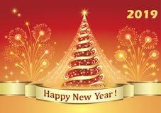 Feliz Año Nuevo 2019 Árbol de navidad con los fuegos artificiales ilustración del vector