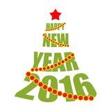 Feliz Año Nuevo 2016 Árbol del texto Estrella y árbol de navidad rojos Fotografía de archivo