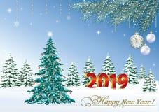 Feliz Año Nuevo 2019 Árbol festivo de la Navidad en el fondo del paisaje del invierno stock de ilustración