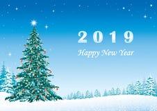 Feliz Año Nuevo 2019 Árbol festivo de la Navidad Ilustración del vector stock de ilustración
