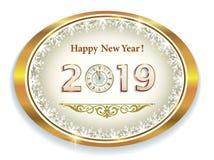 Feliz Año Nuevo 2019 Óvalo de oro con los copos de nieve con la fecha Ilustración del vector ilustración del vector
