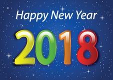 Feliz Año Nuevo 2018 01 stock de ilustración