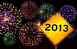 Feliz Año Nuevo 2013 de la señal de tráfico Imagen de archivo libre de regalías
