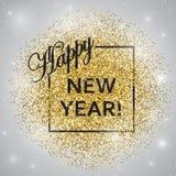 Feliz Año Nuevo Año Nuevo del brillo del oro Fondo del oro para el aviador, cartel, muestra, bandera, web, jefe stock de ilustración