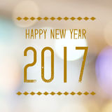 Feliz Año Nuevo 2017 años en fondo del bokeh de la falta de definición Imagen de archivo libre de regalías