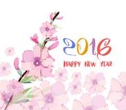 Feliz Año Nuevo 2016 Acuarela del flor del ciruelo japonés Imágenes de archivo libres de regalías
