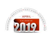 Feliz Año Nuevo 2019 April Calendar - elementos del diseño del día de fiesta del Año Nuevo para las tarjetas del día de fiesta, c libre illustration