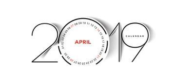 Feliz Año Nuevo 2019 April Calendar - elementos del diseño del día de fiesta del Año Nuevo para las tarjetas del día de fiesta, c stock de ilustración