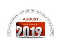 Feliz Año Nuevo 2019 August Calendar - elementos del diseño del día de fiesta del Año Nuevo para las tarjetas del día de fiesta,  libre illustration