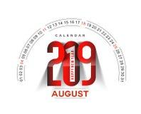 Feliz Año Nuevo 2019 August Calendar - elementos del diseño del día de fiesta del Año Nuevo para las tarjetas del día de fiesta,  ilustración del vector