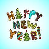 Feliz Año Nuevo - bandera brillante de la historieta con las letras a mano stock de ilustración