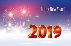 Feliz Año Nuevo 2019 Bandera con los fuegos artificiales Ilustración del vector libre illustration