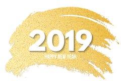 Feliz Año Nuevo 2019 Bandera de lujo de brillos de oro Mano drenada Cepillo del oro en estilo del grunge Línea de oro de mancha y Imagenes de archivo