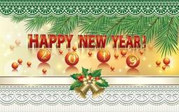 Feliz Año Nuevo 2019 Bandera del Año Nuevo con las ramas, las bolas, las campanas y el ornamento de la picea Ilustración del vect ilustración del vector