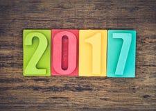 Feliz Año Nuevo 2017, barra del número del chocolate Foto de archivo