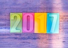 Feliz Año Nuevo 2017, barra del número del chocolate Foto de archivo libre de regalías