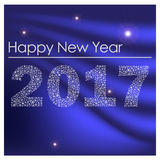 Feliz Año Nuevo brillante azul 2017 de los pequeños copos de nieve eps10 Imagen de archivo libre de regalías