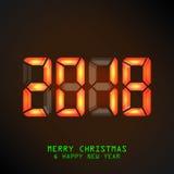 Feliz Año Nuevo 2018 Calendario mecánico del vector, ejemplo de la exhibición de la aleta partida Imágenes de archivo libres de regalías