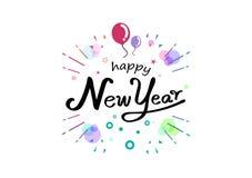 Feliz Año Nuevo, caligrafía colorida de la cinta, globos manuscritos y ejemplo del vector del partido del festival de la decoraci stock de ilustración