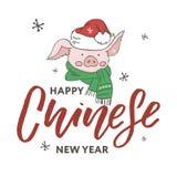 Feliz Año Nuevo 2019 Año Nuevo chino El año del cerdo Traducción: Feliz Año Nuevo del título stock de ilustración