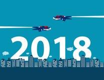 Feliz Año Nuevo Competencia y dirección del negocio para 2018 con Foto de archivo libre de regalías