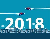 Feliz Año Nuevo Competencia y dirección del negocio para 2018 con Fotografía de archivo