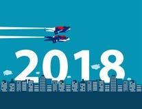 Feliz Año Nuevo Competencia y dirección del negocio para 2018 con Imagen de archivo