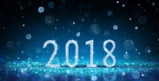 2018 - Feliz Año Nuevo con Diamond Numbers imagen de archivo libre de regalías
