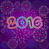 Feliz Año Nuevo 2016 con el fondo de los fuegos artificiales Imágenes de archivo libres de regalías