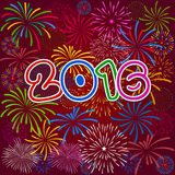 Feliz Año Nuevo 2016 con el fondo de los fuegos artificiales Foto de archivo