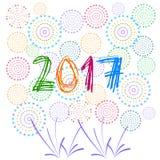 Feliz Año Nuevo 2017 con el fondo de los fuegos artificiales Imagen de archivo libre de regalías